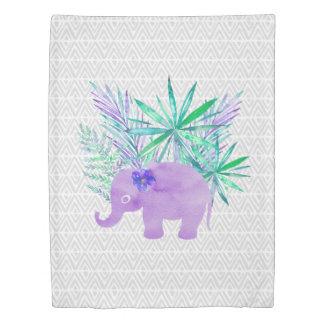 Watercolor Elephant Jungle Shibori Primitive Duvet Cover