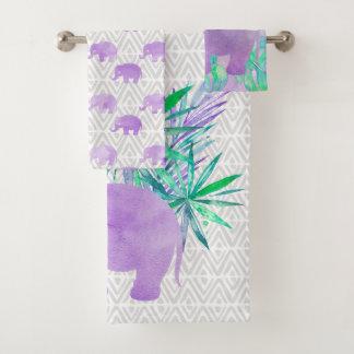 Watercolor Elephant Jungle Tropical Customizable Bath Towel Set