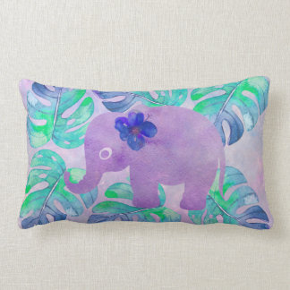 Watercolor Elephant Jungle Tropical Monstera Leaf Lumbar Pillow