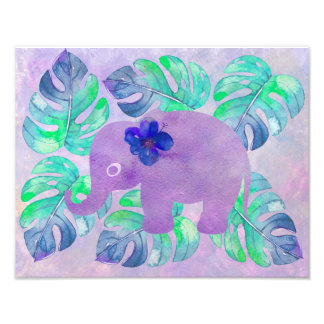 Watercolor Elephant Jungle Tropical Monstera Leaf Photo Print