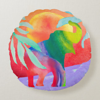Watercolor Elephant Round Pillow