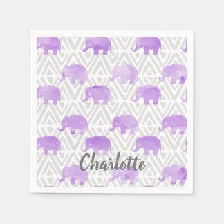 Watercolor Elephant Shibori Primitive Chevron Napkin