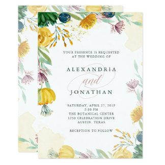 Watercolor Emerald and Gold Peonies   Wedding Card