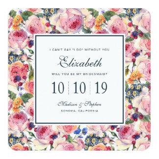 Watercolor | English Roses - Bridesmaid Card