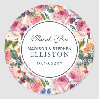 Watercolor | English Roses | Thank You Round Sticker
