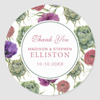 Watercolor | Eucalyptus & Anemone | Thank You Round Sticker