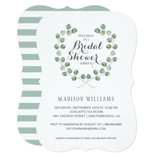 Watercolor Eucalyptus Leaf Frame | Bridal Shower Card