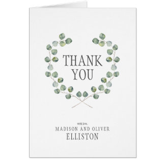 Watercolor Eucalyptus Leaf Frame | Thank You Card