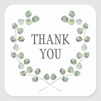 Watercolor Eucalyptus Leaf Frame | Thank You Square Sticker