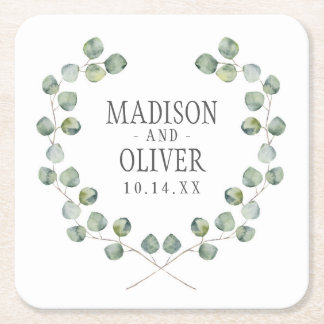 Watercolor Eucalyptus Leaf Frame | Wedding Square Paper Coaster
