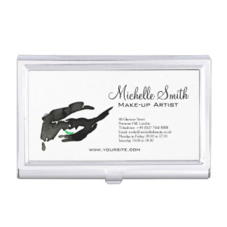 Watercolor eyes lash extension makeup branding business card holder