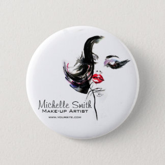 Watercolor face makeup artist branding 2 inch round button