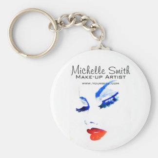 Watercolor face makeup artist branding basic round button keychain