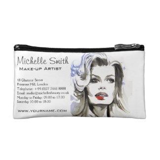 Watercolor face makeup artist branding cosmetic bag
