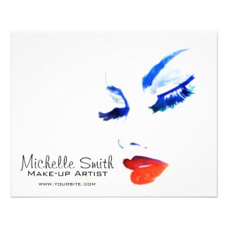 Watercolor face makeup artist branding flyer