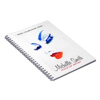 Watercolor face makeup artist branding notebooks
