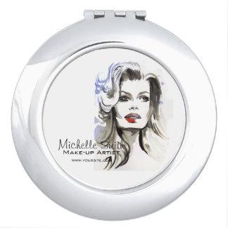 Watercolor face makeup artist branding travel mirror