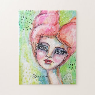 Watercolor Fairy Artistic Girl Colorful Dream Pink Jigsaw Puzzle