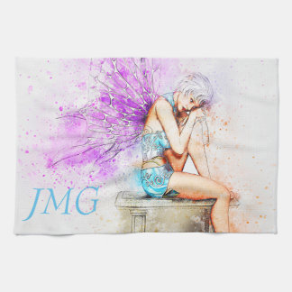 Watercolor Fairy in Blue with Monogram Kitchen Towel