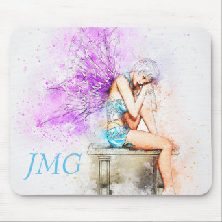 Watercolor Fairy in Blue with Monogram Mouse Pad