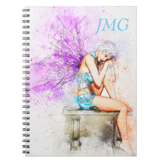 Watercolor Fairy in Blue with Monogram Notebook