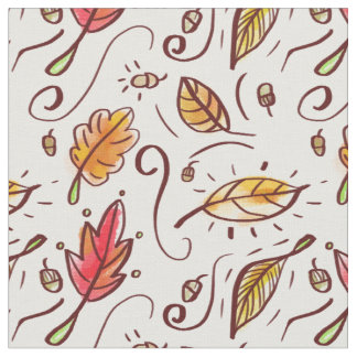 Watercolor Fall Doodles - Seamless Pattern Fabric