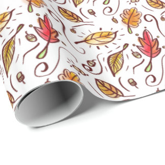 Watercolor Fall Doodles Wrapping Paper
