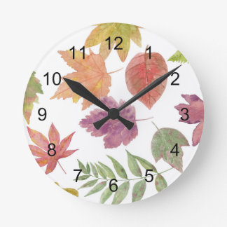 Watercolor fall leaf pattern, colorful leaves round clock