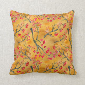 Watercolor Fall Leaves Branches & Berries Throw Pillow
