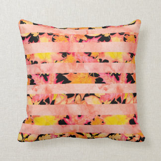 Watercolor Fall Leaves Pink | Black Stripes Throw Pillow