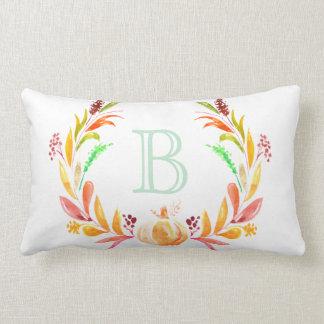 Watercolor Fall Pumpkin & Laurels Initial Letter Lumbar Pillow