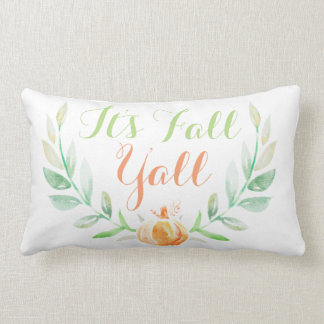 Watercolor Fall Pumpkin & Laurels It's Fall Ya'll Lumbar Pillow