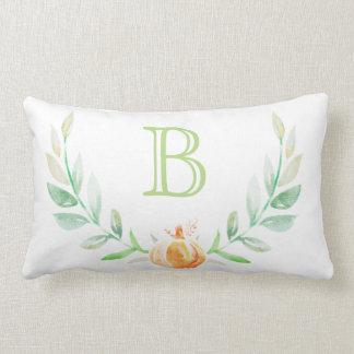 Watercolor Fall Pumpkin & Leaf Laurels Initial Lumbar Pillow