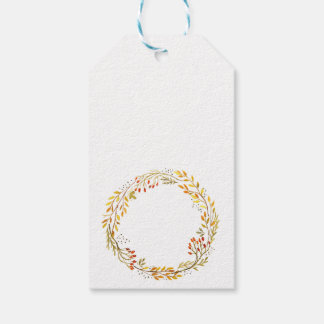 Watercolor Fall Wreath gift tags Thanksgiving