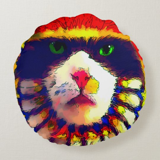 Watercolor Fantasy Rainbow Cat Round Throw Pillow
