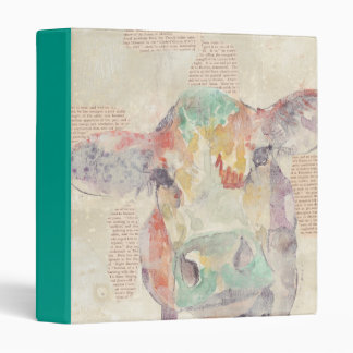 Watercolor Farm Collage Cow Binder