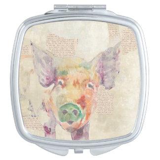 Watercolor Farm Collage Pig Travel Mirror