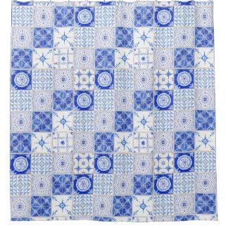Watercolor Farmhouse Vintage Blue White Tile Art