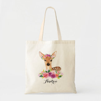 Watercolor Fawn with Floral Crown Personalized Bag