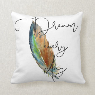 Watercolor Feather Dream Throw Pillow