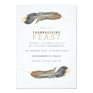 Watercolor Feather Duo Thanksgiving Feast Invite