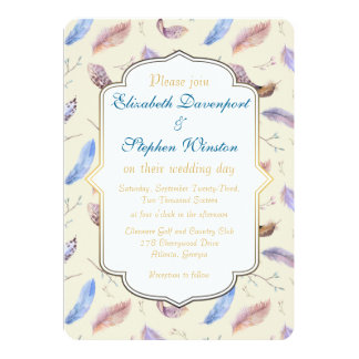 Watercolor Feather Pattern and Fancy Frame Wedding Card