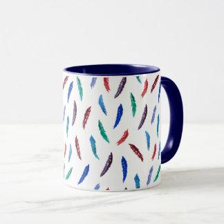 Watercolor Feathers 11 oz Combo Mug