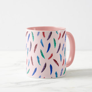 Watercolor Feathers 11 oz Combo Mug