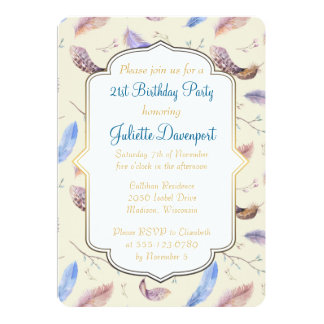 Watercolor Feathers and Fancy Frame Birthday Card