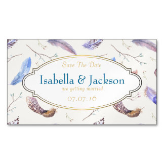 Watercolor Feathers and Fancy Frame Save The Date Magnetic Business Card