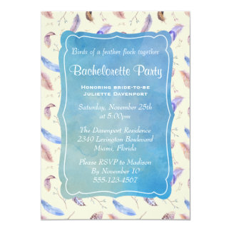 Watercolor Feathers and Leaves bachelorette Party Card