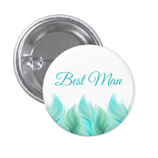 Watercolor Feathers Best Man 1 Inch Round Button