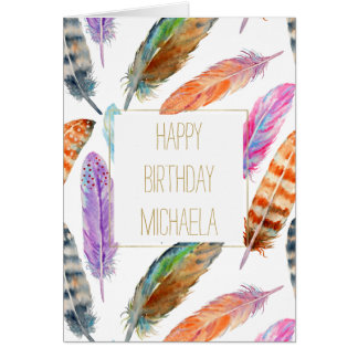 Watercolor Feathers Birthday Card