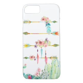 Watercolor Feathers Boho Tribal Arrows Cactus Art iPhone 8/7 Case